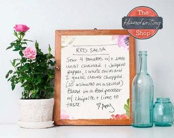 Handwritten Recipe, Their Handwriting, Grandma's Recipe made into wall art, Personalized Handwriting Gift, Sentimental Gift, Maggie Unruh