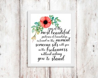 Friendship Quote - Instant Download - Friendship Print - Wall Art Printable - Printable Quote - Word Art - Digital Artwork - Floral Art