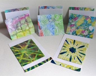 Gelli printed envelopes with matching folded note cards