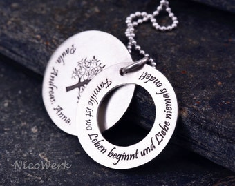 Family chain tree of life necklace-engraved pendant necklace ESK108