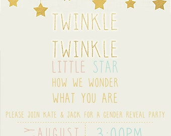 Twinkle Twinkle Little Star, Gender Reveal, Birthday Party, Gold, Pink, Blue, Invitation