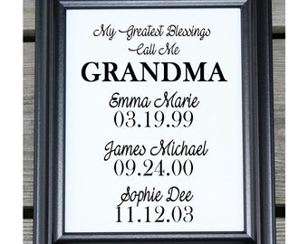 Christmas Gift for Grandma | My greatest Blessings Call Me Grandma | Personalized Gift for Grandma | Coton Canvas Print | Gift for Grandma