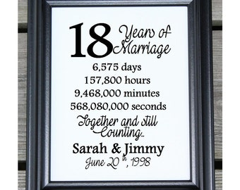 18th wedding anniversary cotton print 18th wedding gift 18 years together 18 years