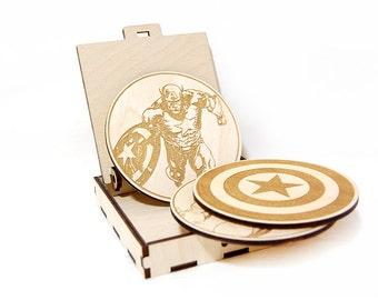 Captain America Marvel wooden coasters set Avengers Home decor Gift for him Superhero Marvel fun gift Birthday gift Laser engraved