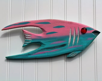 Pink and teal hand carved Angel fish, beachy wall art made with reclaimed wood. Painted by hand, great for coastal theme or ocean decor.