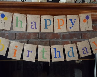Colorful Happy Birthday Banner, Burlap Happy Birthday Garland, Rainbow Birthday Bunting, BSC-071