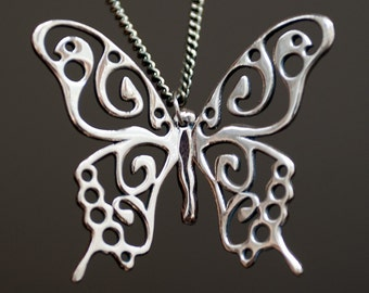 "Swallowtail Butterfly Pendant || Butterfly necklace of albata || Pendant ""Papilio machaon"" on a chain"