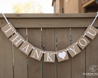 THANK YOU banner with Hearts for Weddings, Engagement Photoshoot Prop | Kraft and White