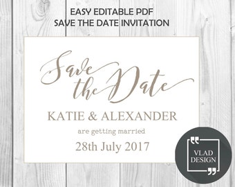 Editable Save the date Invitation Editable PDF Wedding invitation DYI Printable invite Calligraphy design Digital invitation