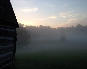 Kentucky cabin at sunrise
