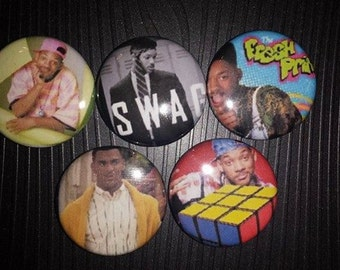 5 Pin Button set  Fresh Prince 1 inch Buttons