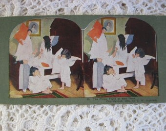 Ingersoll Stereoscope, Stereoview Card, Antique Paper,No. 20 , The Pillow Fight at Bedtime, Children Playing ,Circa 1890s,Story Card
