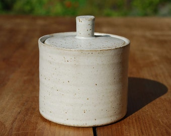 Sugar Bowl *Made to order* Handmade ceramic sugar bowl with a speckled white stoneware glaze. hand crafted contemporary pottery