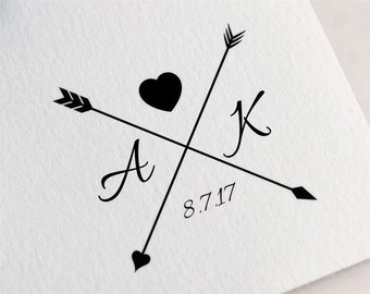 Arrow Rubber Stamp, RSVP Stamp, Monogram Wedding Stamp, Custom Wedding Favor Stamp, Initial Stamp, Gift for Couple Z17