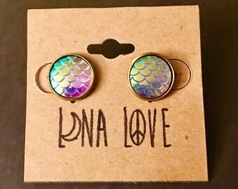 Mermaid Earrings- Purple/White