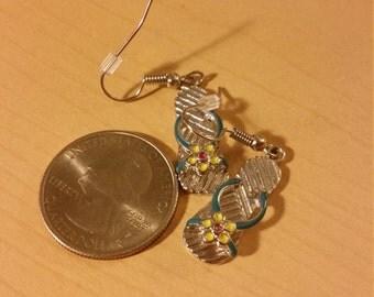 Silver colorful flip flop earrings