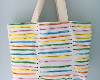 Rainbow Stripe Shopping Tote Bag