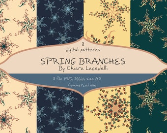 Digital paper Spring branches
