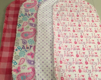 Pink/Purple Flannel Burp Cloths