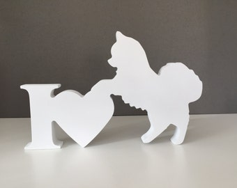 Long Haired Chihuahua Ornament, I Love Dogs Sign, Wooden Dog, Birthday Gift, Memory Keepsake, Dog Ornament, Mothers Day, Chihuahua dog.