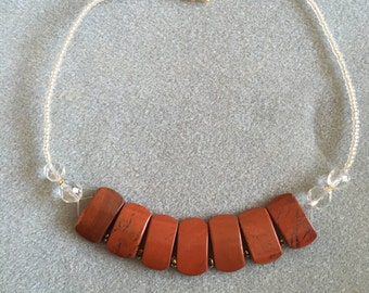 Jasper and crystal bead necklace