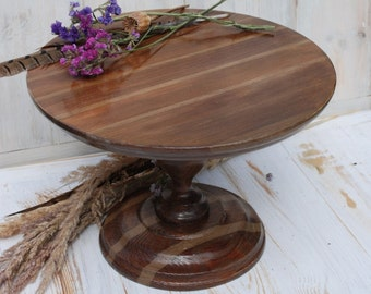 """12"""" inches, Brown wooden cake stand,brown cake pedestal,cake stand plate,country decor,country cake plate,country cake stand"""