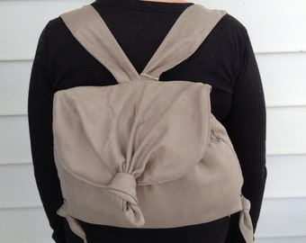 Taupe Knotted Backpack Purse