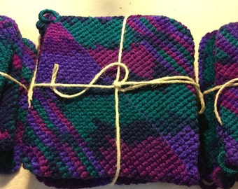 Grandma's Crocheted Stained Glass Pot Holders
