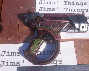 Steampunk hand blaster with confusingly pointless flipping action