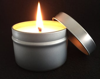 4 oz. candle, pick your fragrance, metal tin, travel tin candle, soy wax candle, cotton wick, candle gift