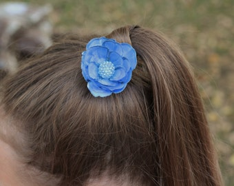Custom Colored Blue Flower Hair Pin
