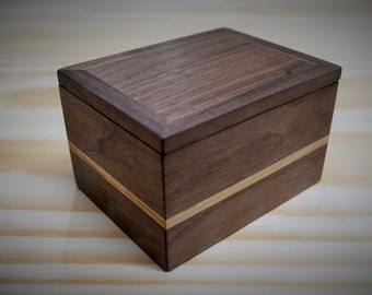 Handmade wooden box with hidden compartment for deck cards, jewellery, gift...