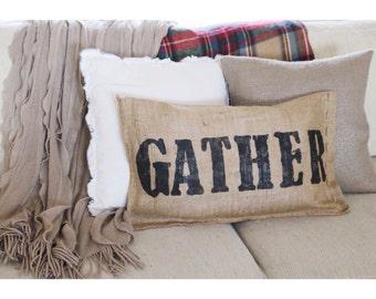 Gather Burlap Pillow