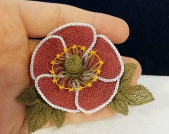 SILK Women's Brooch 5cm Diameter Red Flower Turkish Oya Needlework Lace. Nice Gift for Her