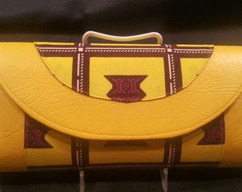 Leather and African Print Clutch