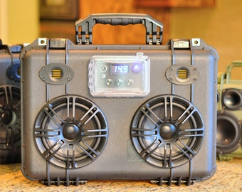 "Custom Portable Tough Pelican 1500 Bluetooth 4.0/AptX Boombox with 100W Amp 6.5"" Woofers and AMT Tweeters and Rechargable Li-Ion Batteries!"