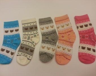 Teddy Bear Socks 5 PAIR - Fits Girls/Ladies shoe size 5 - 9