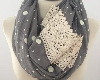 Polka dot infinity scarf, chunky scarf, printed scarf, winter scarf, womens scarf, lace scarf, scarf for women,  print infinity scarf