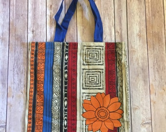 Eco Friendly Side Zipper Canvas Tote Bag - Fall Flower Design - Free Shipping!