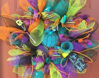 Teal Pumpkin Deco Mesh Wreath, Halloween Deco Mesh Wreath for Food Allergies with Orange Deco Tubing