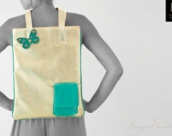 Tote bag, Handmade, Gold Handbag, Turquoise, City Bag, Shopping Bag, Unique, Colortherapy collection, Bags & Purses!