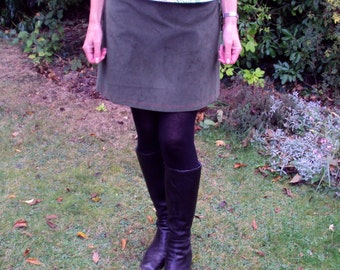 A Line Skirt - deep moss green corduroy - lined/wide waist yoke/contrast inner lining/hand finished/durable/office wear/rustic country