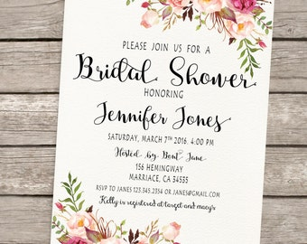 Floral Boho Bridal Shower Invitation. Printable Bridal Shower Invitation. Boho Digital Invitation - US_BI0701