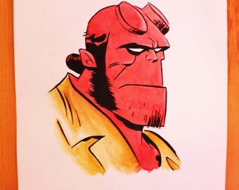 Hellboy comics ink and watercolour drawing