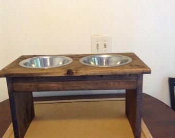 Big wooden dog bowl holder
