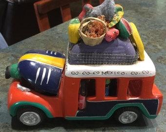 Cancun Cozumel Mexico Folk Art Clay Pottery Hand Painted Bus 1960 Era