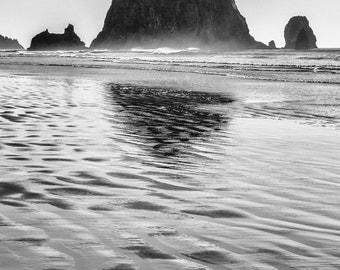 Haystack Rock Photograph, Cannon Beach Oregon Coast, Black and White Print, Seashore Photography