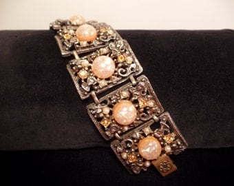 1950's Large Selro Style Bracelet with Confetti Stones