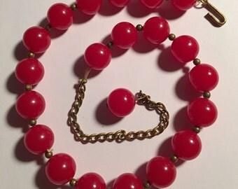 Vintage Red Bakelite Bead Necklace