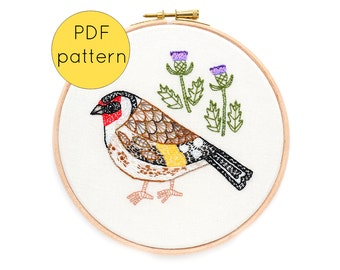 Bird Embroidery Pattern, PDF Instant Download, Goldfinch Sewing Pattern